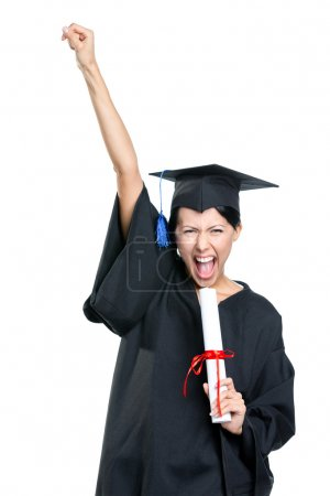 Photo for Graduating student gesturing fist with the diploma that is the symbol of wisdom and knowledge, isolated on white - Royalty Free Image