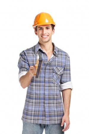 Foreman in range hard hat handing elevation meter