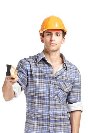 Foreman handing elevation meter