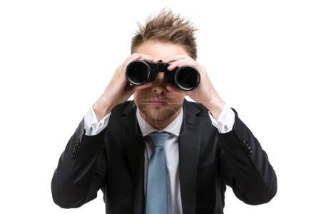 Business man with binocular