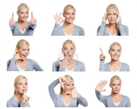 Photo for Set of nine pictures of pretty young woman with different gestures and emotions, isolated on white - Royalty Free Image