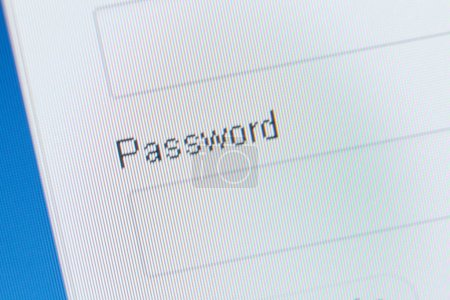 Close up of password field