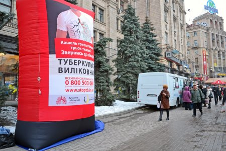 Pneumonia test scanning with mobile x-rays radiography car in Kiev, Ukraine.