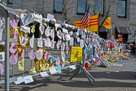 Memorial set up on Boylston Street in Boston, USA.