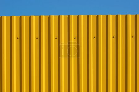 Photo pour Un fragment d'une clôture avec une feuille jaune - image libre de droit