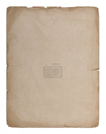 Photo for Sheet of old paper isolated on a white background - Royalty Free Image