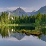 Panorama of mountain lake. Slovakia, the resort St...