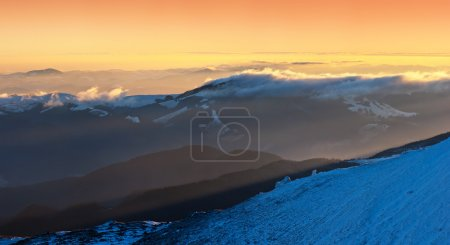 Photo for Winter landscape at sunrise in the mountains - Royalty Free Image