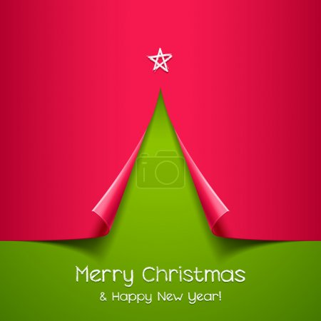 Illustration for Christmas tree made of paper. Vector background for design - Royalty Free Image