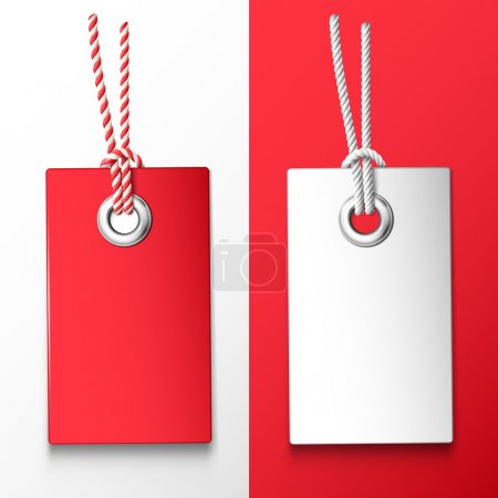 Illustration for Two red and white price tag. Vector design elements - Royalty Free Image