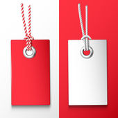 Two red and white price tag Vector design elements