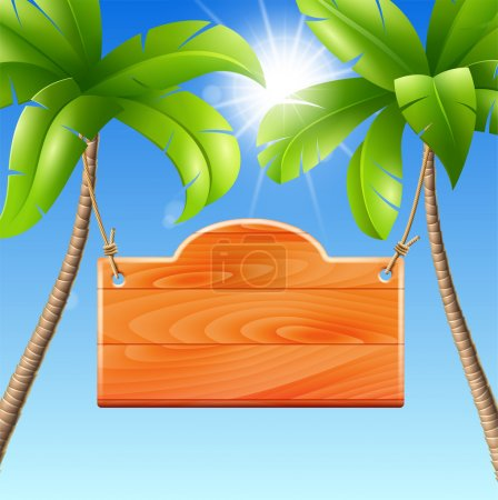Photo for Wooden signboard on a palm. Vector illustration of a summer holiday in the tropics - Royalty Free Image