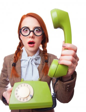Teacher with green retro phone