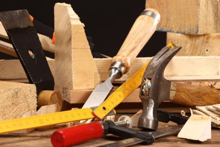 Photo for Carpenter's tools close up on work bench - Royalty Free Image