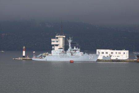 war ship in the  harbor