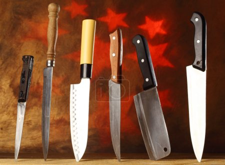 Photo for Collection of various kitchen knives - Royalty Free Image