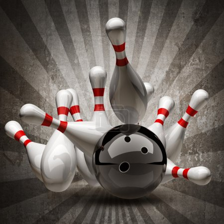Bowling Ball crashing into the pins on vintage background.
