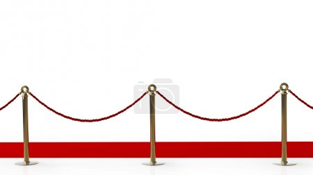 Photo for Red carpet isolated on a white background High resolution 3d render - Royalty Free Image