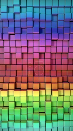 Photo for Rainbow of colorful boxes 3d illustration. high resolution - Royalty Free Image