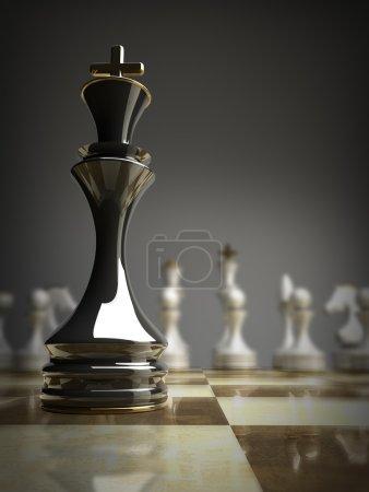 black chess king background 3d illustration.