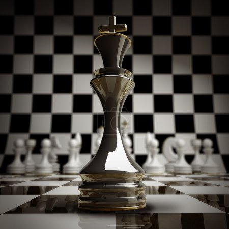 closeup Black chess king background 3d illustration.