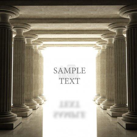 Photo pour Vieilles colonnes est de style antique. réaliste 3d illustration sépia tonifiée - image libre de droit