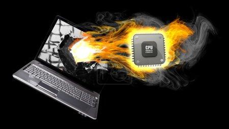 Laptop in Fire. Burning Processor.
