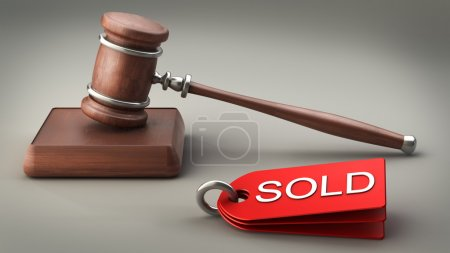 Auction gavel High resolution 3D image
