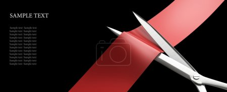 Scissors cut the red ribbon closeup isolated on bl...