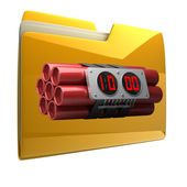 Yellow folder with Explosives alarm clock