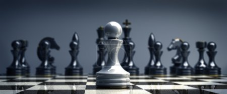 White chess pawn background 3d illustration. high resolution