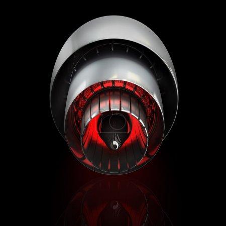 Jet engine inside isolated on black background. Hi...