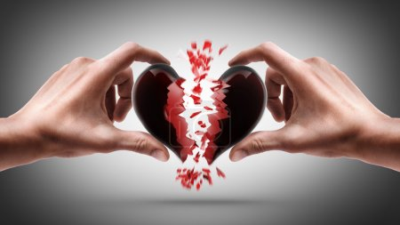Photo for Hands holding broken heart on gray background - Royalty Free Image