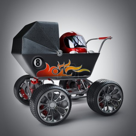 Baby super Carriage with small racer in a helmet