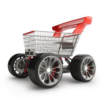 Shopping cart with big car wheel