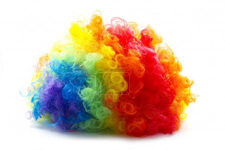 Photo for Rainbow color clown wig curly abstract object - Royalty Free Image