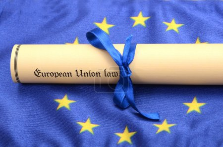 Photo for European union law on the European union flag , EU legal system concept - Royalty Free Image