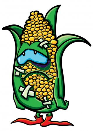 Funny battered cartoon corn