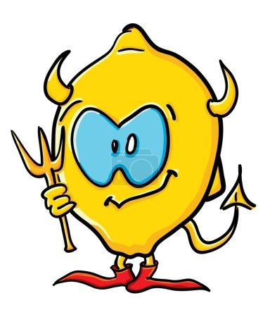 Funny cartoon lemon is demon