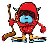 Funny cartoon strawberry is a hockey