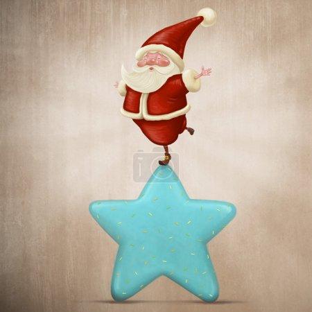 Foto de Equilibrio de Santa Claus en una dulce estrella de caramelo - Imagen libre de derechos