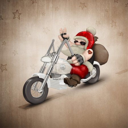 Photo for Santa Claus rides a motorcycle for delivery the gifts - Royalty Free Image