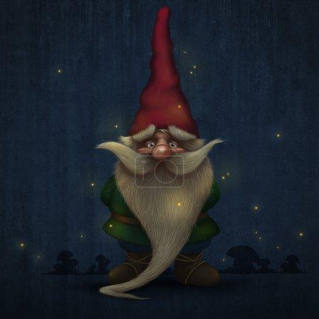 Photo pour Gnome à longue barbe encerclée de lucioles - image libre de droit