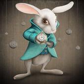 Weißes Kaninchen mit Uhr
