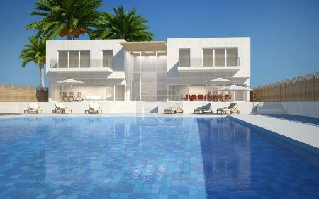 Photo pour Villa moderne avec piscine d'eau vue de jour - image libre de droit
