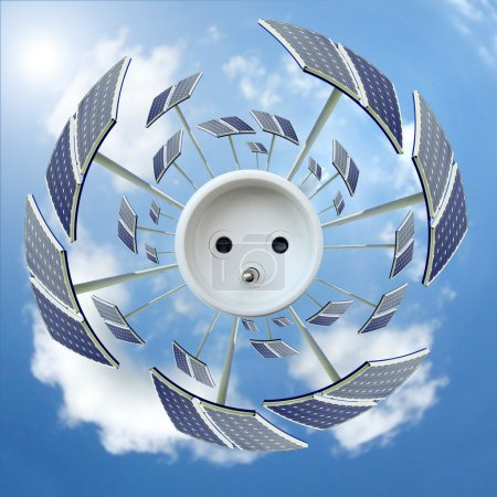 Photo pour Vue du panneau solaire autour d'une prise - Concept écologique - image libre de droit