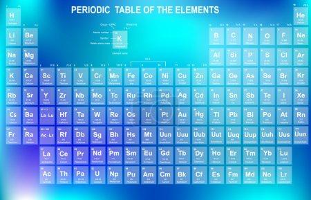 Illustration pour Tableau périodique des éléments avec numéro atomique, symbole et poids - image libre de droit