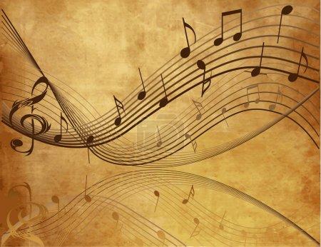 Illustration pour Fond vintage avec notes de musique - image libre de droit