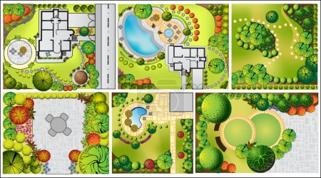 Illustration for Vector Landscape Plan with treetop symbols - Royalty Free Image