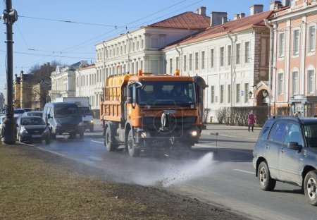 Cleaning the University embankment after the winter. Saint-Petersburg